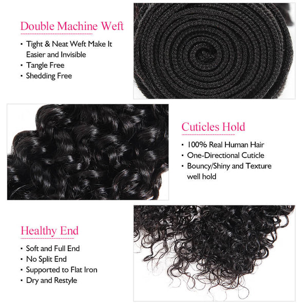 Brazilian Ishow Curly Wave Hair Extensions 3 Bundles With Lace Frontal 100% Remy Human Hair Weave Natural Color - IshowVirginHair