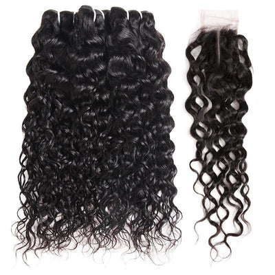 Brazilian Ishow Hair Bundles Water Wave Hair Weave 3 Bundles With 2x4 Lace Closure - IshowVirginHair