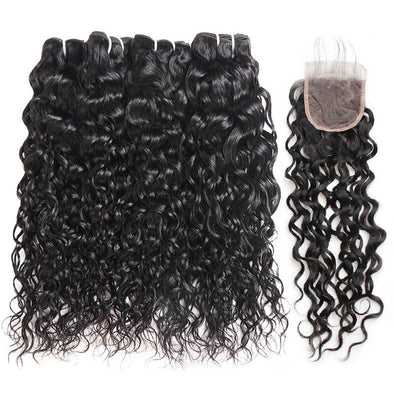 Brazilian Water Wave Hair Extensions Free Part Ishow 4 Bundles Hair Weave With Lace Closure 100% Remy Virgin Human Hair - IshowVirginHair