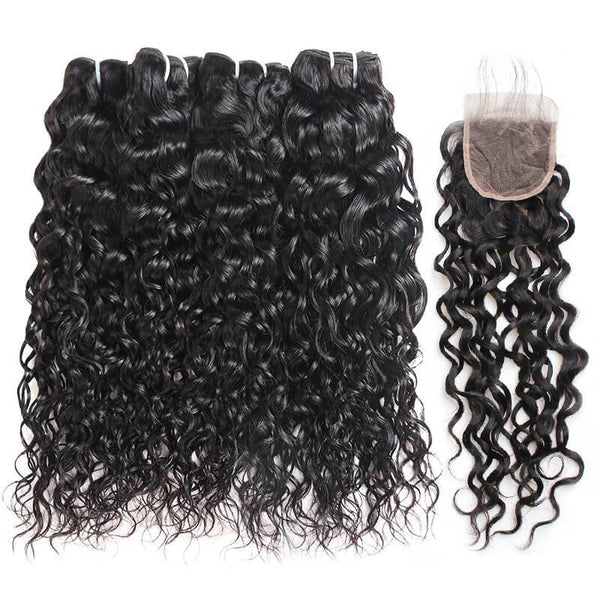 Ishow Hair Brazilian Water Wave Human Hair 4 Bundles With Lace Closure - IshowVirginHair