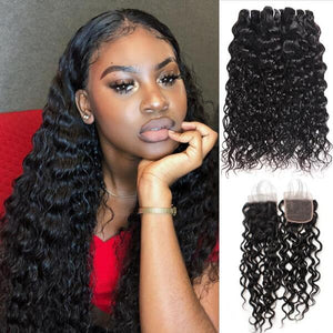 Water Wave Hair Weave 3 Bundles With Lace Closure Virgin Indian Human Hair