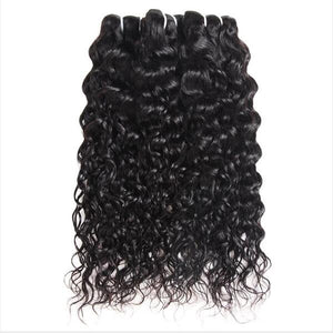Virgin Malaysian Human Hair Water Wave 3 Bundles With Lace Closure Ishow Hair