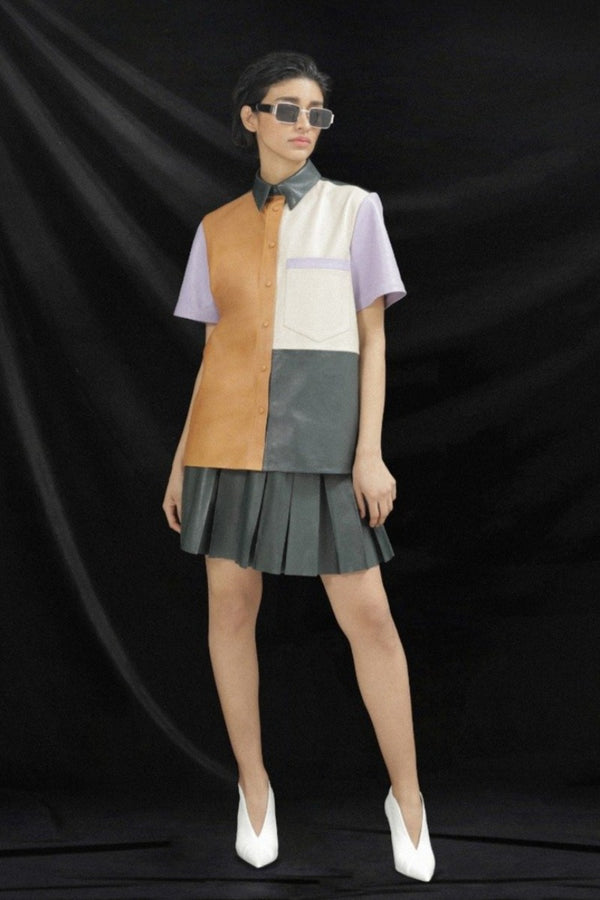 Camisa de Piel Color Block - HONESTA