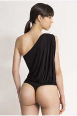 Lee Asymmetric Black Bodysuit - HONESTA