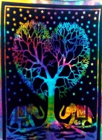 TAPESTRY - COTTON RAINBOW HEART TREE 100X75CM