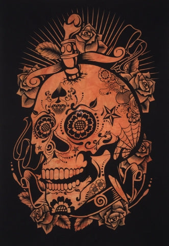 TAPESTRY - COTTON SKULL ORANGE 100x75cm