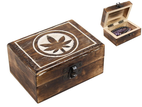 MANGO WOOD BOX WITH POT LEAF DESIGN