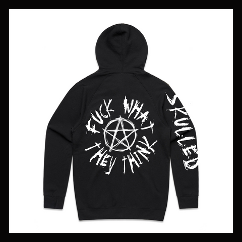 "Skulled Clothing - ""Fuck What They Think"" zip hoodie {PRE-ORDER ONLY}"