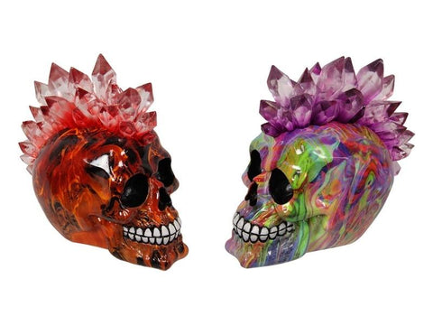 Crystal Mohawk Skull Decoration