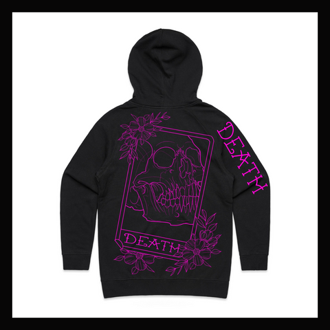 Skulled Clothing - Death Card pink print pullover hoodie