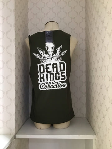 DEAD KINGS COLLECTIVE ARMY GREEN BADGE TANK