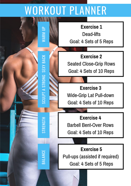 XCD Nutrition Exercise 1 Dead-lifts Goal_ 4 Sets of 5 Reps Exercise 2 Seated Close-Grip Rows Goal_ 4 Sets of 10 Reps Exercise 3 Wide-Grip Lat Pulldown Goal_ 4 Sets of 10 Reps Exercise 4 Barbell Bent-Over Rows Goal_ 4 Sets of 10