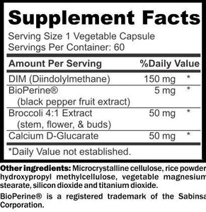 DIM Hormone Support Nutritional Information