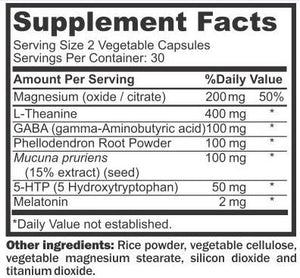 NYX Sleep Formula Nutritional Information