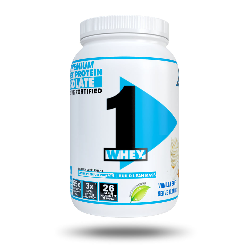 XCD Nutrition - 1Whey Protein Advanced Whey Protein 100% Isolate WPI -ProHydrolase Digestive Enzymes - Sweetened with STEVIA