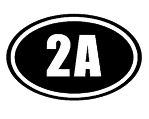 2A 2nd Amendment Sticker White Oval Vinyl Decal Car Truck Guns Rights Arms Ammo