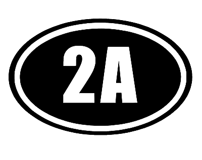 2A 2nd Amendment Sticker White Oval Vinyl Decal Car Truck Guns Rights Arms Ammo-Fun Fare Decals
