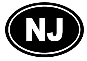 New Jersey Oval Die Cut Vinyl Decal-Fun Fare Decals