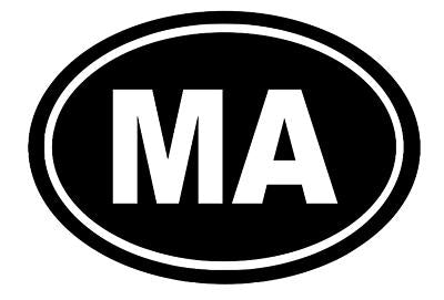 Massachusetts Oval Die Cut Vinyl Decal-Fun Fare Decals