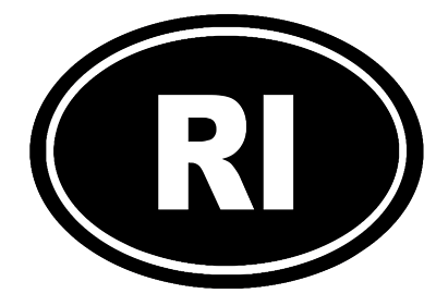 Rhode Island Oval Die Cut Vinyl Decal-Fun Fare Decals