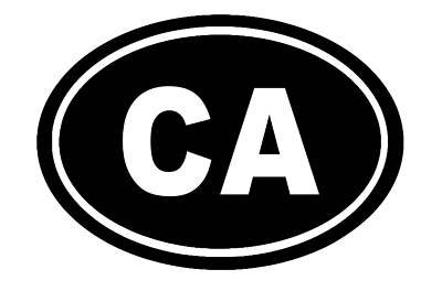 California Oval Die Cut Vinyl Decal