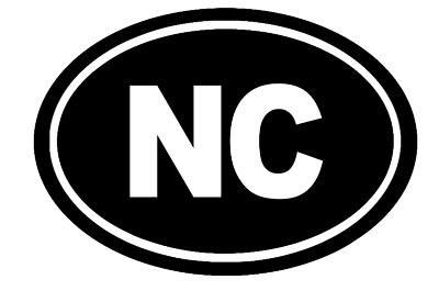 North Carolina Oval Die Cut Vinyl Decal-Fun Fare Decals