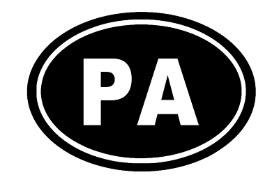 Pennsylvania Oval Die Cut Vinyl Decal-Fun Fare Decals