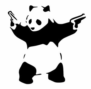 PANDA WITH GUNS Vinyl Decal Sticker Car Window Wall Bumper Macbook BANKSY ART-Fun Fare Decals