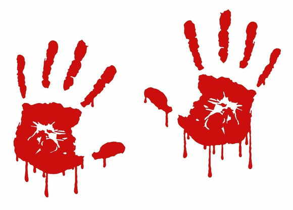 Bloody Zombie Hand Print Set Vinyl Decal Outdoor Car Sticker Walking Dead-Fun Fare Decals