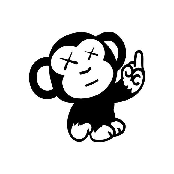 Monkey Middle Finger Vinyl Die Cut Decal-Fun Fare Decals