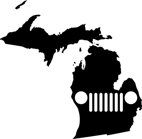 Michigan JEEP Grill Die Cut Vinyl Decal-Fun Fare Decals