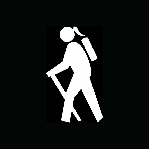 WOMAN HIKER Icon Sticker Car Window Vinyl Decal Hiking Camping Backpack Travel-Fun Fare Decals