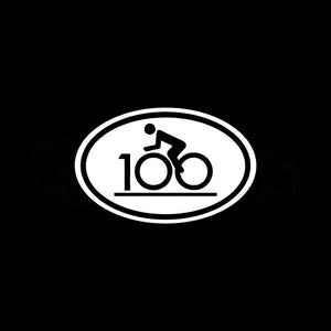 Century ride bike race 100 sticker decal oval bicycle hundred miles club fitness-Fun Fare Decals