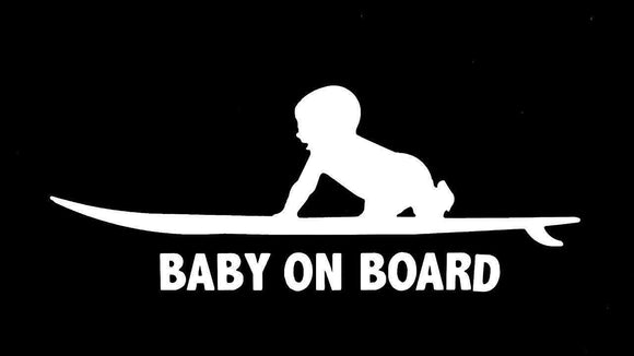 Baby on board surfing Vinyl decal