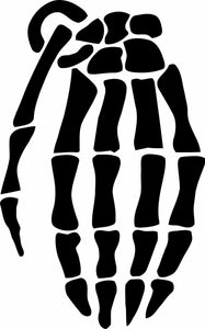 Grenade skeleton glove vinyl decal sticker wall car laptop many colors/sizes-Fun Fare Decals