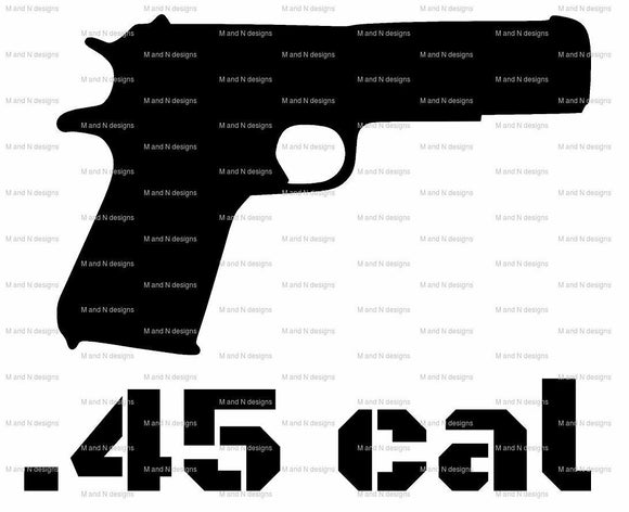 .45cal Gun Vinyl decal-Fun Fare Decals