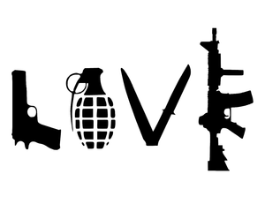 Love with Guns car decal sticker grenade hand gun window vinyl sticker truck-Fun Fare Decals