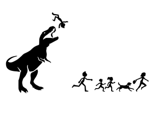 Stick Figure Family Dinosaur Attacks T-Fun Fare Decals
