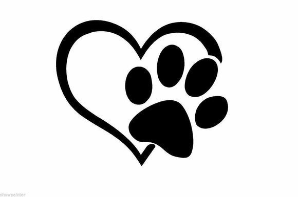 PAW PRINT HEART Die cut Vinyl Decal-Fun Fare Decals
