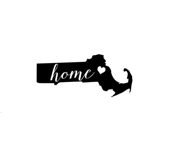 Massachusetts Home Die Cut Vinyl Decal-Fun Fare Decals