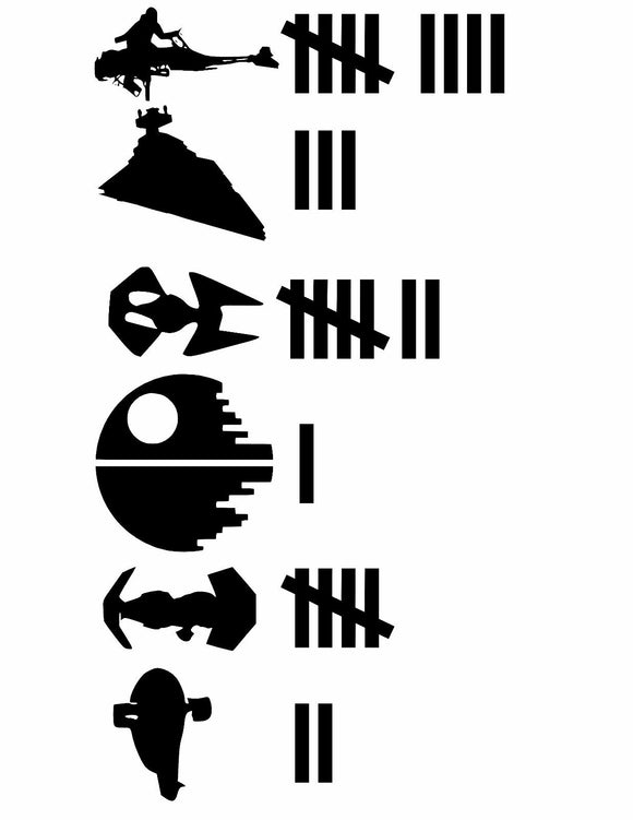 Star Wars EMPIRE SHIPS Keeping Count Car Truck Window Laptop Decal Sticker Rebel-Fun Fare Decals