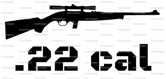 .22 cal Gun Vinyl decal-Fun Fare Decals