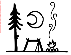 Camp Fire and Tent Die Cut Vinyl Decal