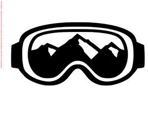 Winter Sport Goggles with Mountain Die Cut Vinyl Decal-Fun Fare Decals