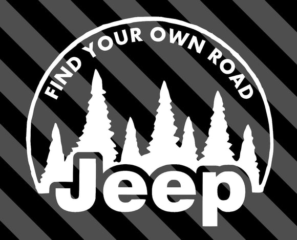 Jeep Find Your Own Road Decal-Fun Fare Decals