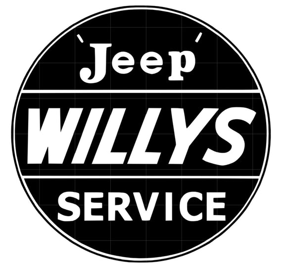 Jeep Willys Sales and Service Vinyl Decal