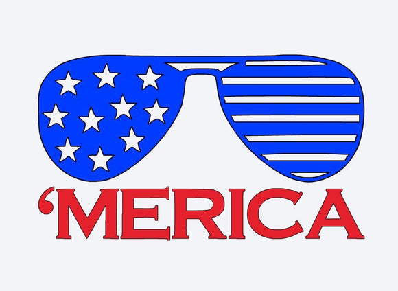 America Patriotic Sunglasses Vinyl Decal-Fun Fare Decals