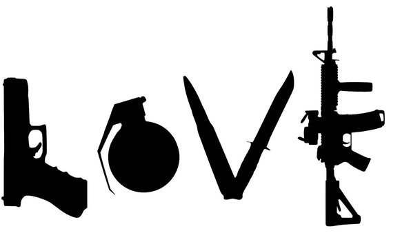 LOVE with GUNS Vinyl Decal-Fun Fare Decals