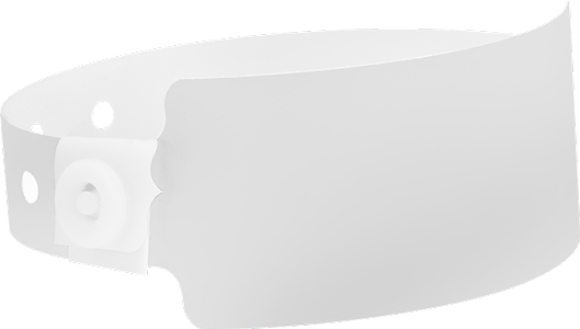 A Soft Comfort Wide Face Snapped Solid White wristband