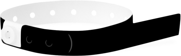 A Soft Comfort L-Shape Snapped Solid Black wristband